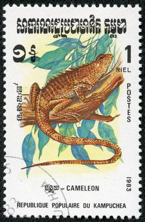 KAMPUCHEA - CIRCA 1983  A stamp printed by Kampuchea shows Chameleon, circa 1983