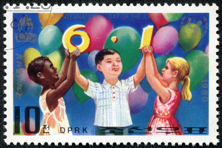 NORTH KOREA - CIRCA 1980  A stamp printed in North Korea commemorates International Children s day showing children Playing, circa 1980
