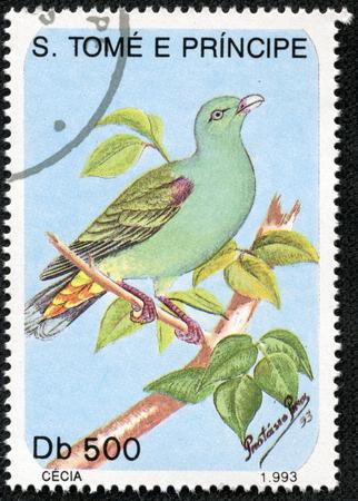 philatelic: S  TOME E PRINCIPE- CIRCA 1993  A Stamp printed in S  TOME E PRINCIPE shows bird, circa 1993
