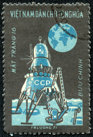 VIETNAM - CIRCA 1971  Postage stamp printed in Vietnam shows Moon flight of  Luna 16 , circa 1971