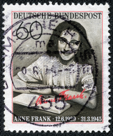anne: GERMANY - CIRCA 1979  A stamp printed in Germany, is dedicated to the 50th anniversary of the birth Annelies Marie  Anne  Frank, circa 1979
