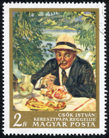 the godfather: HUNGARY - CIRCA 1967  A stamp printed in Hungary, shows Picture Godfather Breakfast by Csok, with the same inscription, from the series  Paintings in National Gallery, Budapest , circa 1967