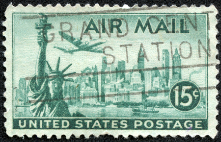 UNITED STATES - CIRCA 1947  stamp printed in USA shows a plane, Statue of Liberty and New York Skyline with the inscription and name of series  AIR MAIL , circa 1947