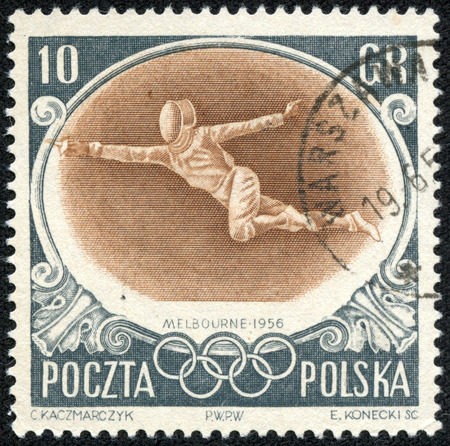 summer olympics: POLAND - CIRCA 1956  A stamp printed in POLAND, shows 1956 Summer Olympics, Games of the XVI Olympiad, circa 1956