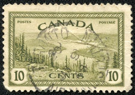 CANADA - CIRCA 1955  Stamp printed in Canada with landscape image of the Yukon River, circa 1955