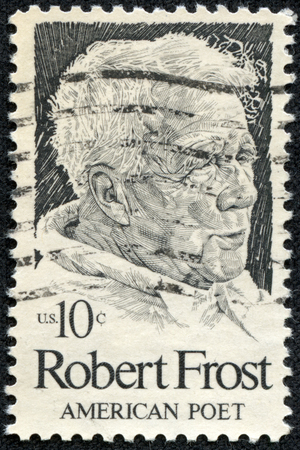 depictions: UNITED STATES OF AMERICA - CIRCA 1974  A stamp printed in USA shows Robert Frost  1874-1963 , American poet, circa 1974
