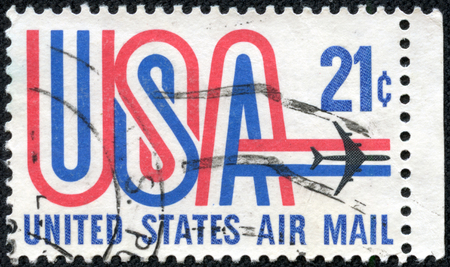 UNITED STATES - CIRCA 1984  A stamp printed in USA, image depicting aircraft, United States Air Mail, face value 20c, circa 1984