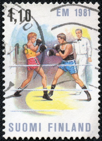 FINLAND - CIRCA 1981  stamp printed by Finland, shows Boxing Match, circa 1981