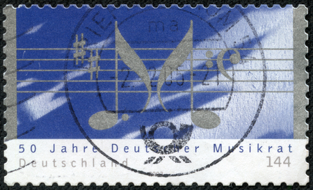 notations: GERMANY - CIRCA 2003  A stamp printed in German Federal Republic dedicated 50th Anniv of Deutscher Musikrat  music association , shows Musical Notations, circa 2003 Editorial