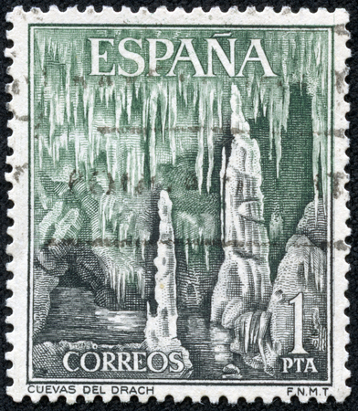 SPAIN - CIRCA 1964  A stamp printed in Spain shows Drach Caves  Majorca , circa 1964