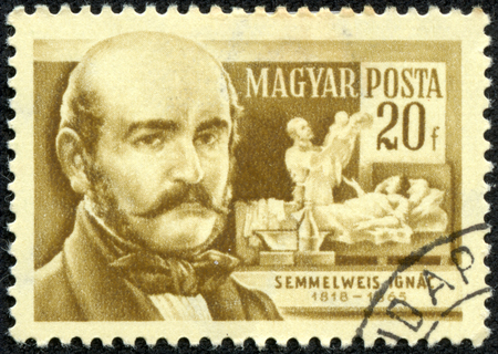 magyar posta: HUNGARY - CIRCA 1955  Stamp printed in Hungary with portrait image of Ignaz Philipp Semmelweis, a Hungarian physician known as pioneer of antiseptic procedures, circa 1955  Editorial