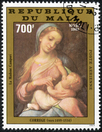 MALI CIRCA 1981  stamp printed by Mali, shows Virgin and Child, by Correggio, circa 1981