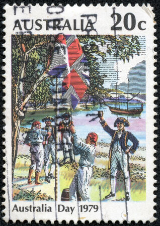 AUSTRALIA - CIRCA 1979  A stamp printed in Australia from the  Australia Day  issue shows Raising the Flag, Sydney Cove, 26 January 1788, circa 1979