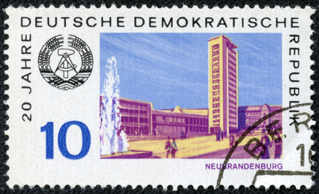 GERMAN DEMOCRATIC REPUBLIC - CIRCA 1969  A stamp printed in Germany from the  20th anniversary of German Democratic Republic  1st issue shows Neubrandenburg city, circa 1969