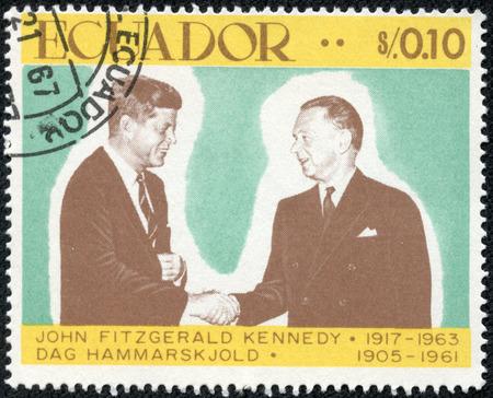 ECUADOR - CIRCA 1967  A stamp printed in Ecuador from the  John F  Kennedy, 50th birth anniversary  issue shows John F  Kennedy and Dag Hammarskjold, circa 1967