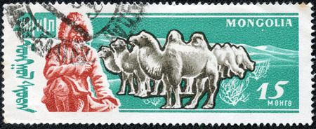 camel post: MONGOLIA - CIRCA 1971, A stamp printed in Mongolia features man in traditional cloth smoking pipe, CIRCA 1971 Editorial