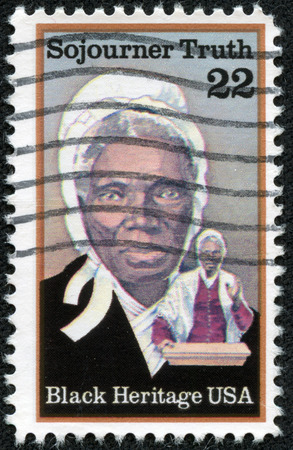 abolitionist: UNITED STATES OF AMERICA- CIRCA 1986  stamp printed in USA, shows Sojourner Truth, abolitionist, black heritage serie, circa 1986 Editorial