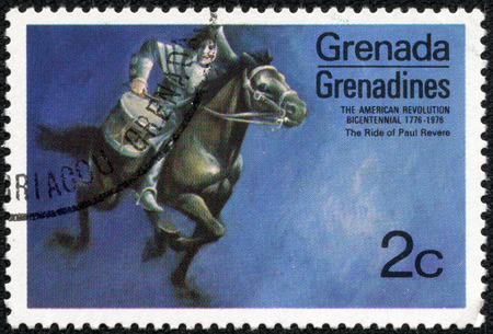 revere: GRENADINES OF GRENADA - CIRCA 1975  A stamp printed in Grenada from the  Bicentenary of American Revolution  1976   1st issue shows Paul Revere s ride, circa 1975  Editorial