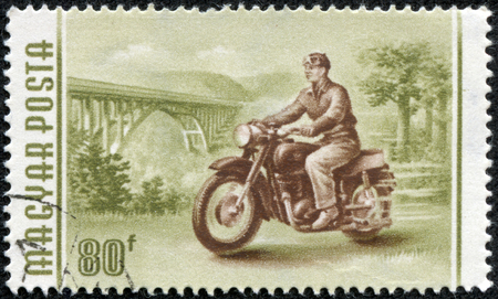 HUNGARY - CIRCA 1958  A stamp printed in Hungary shows image of a motorcyclist, series, circa 1958