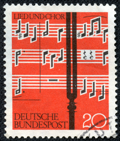 choral: GERMANY - CIRCA 1962  a stamp printed in the Germany shows Notes and Tuning Fork, circa 1962 Editorial