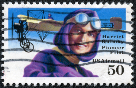 screenwriter: USA - CIRCA 1991  A stamp printed in USA shows image of the Harriet Quimby  May 11, 1875 - July 1, 1912  was an early American aviator and a movie screenwriter, circa 1991  Editorial