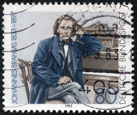 johannes: GERMANY - CIRCA 1983  A stamp printed in Germany shows Johannes Brahms, Composer, circa 1983
