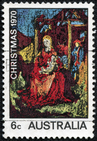 AUSTRALIA - CIRCA 1970  A stamp printed in AUSTRALIA shows the Madonna and Child, by William Beasley, Christmas issue, circa 1970