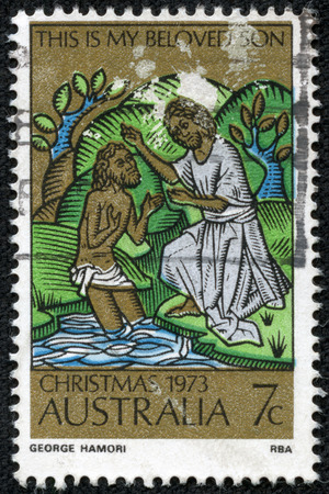 AUSTRALIA - CIRCA 1973  Postage stamp printed in Australia, Christmas Issue, shows the Baptism of Christ, circa 1973