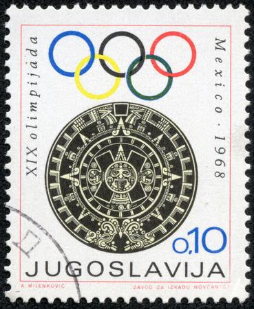 yugoslavia: YUGOSLAVIA- CIRCA 1968  A stamp printed in Yugoslavia shows Olympic games in Mexico,circa 1968