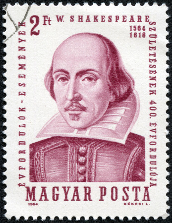 HUNGARY - CIRCA 1964  A stamp printed in Hungary shows image of William Shakespeare  1564-1616 , the playwright, circa 1964