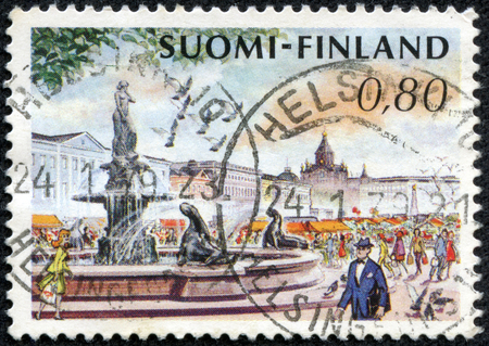 FINLAND - CIRCA 1976  stamp printed by Finland, shows Helsinki Market Place and Mermaid Fountain, circa 1976