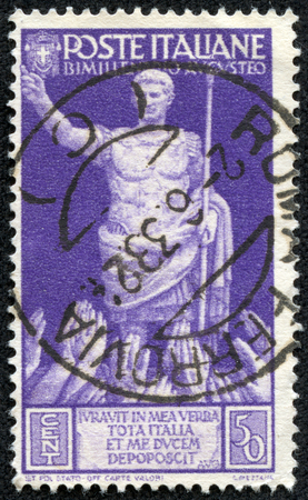 and acclaim: ITALY - CIRCA 1937  a stamp printed in the Italy shows Emperor Augustus Caesar Octavianus Receiving Acclaim, 2000th Anniversary of the Birth of Augustus, circa 1937
