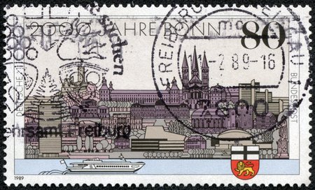 west of germany: GERMANY - CIRCA 1989  A stamp printed in Germany dedicated to the 2000th anniversary of Bonn and the 40th anniversary of the capital West Germany, circa 1989 Editorial
