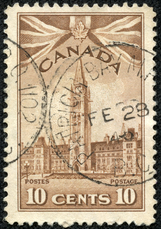 CANADA - CIRCA 1962  A stamp printed in Canada, shows Peace Tower Ottawa, Parliament Buildings Ottava, circa 1962