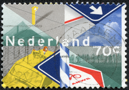 NETHERLANDS - CIRCA 1983  A stamp printed in Netherlands honoring Centenary of Royal Dutch Touring Club, Touring Club Activities , circa 1983