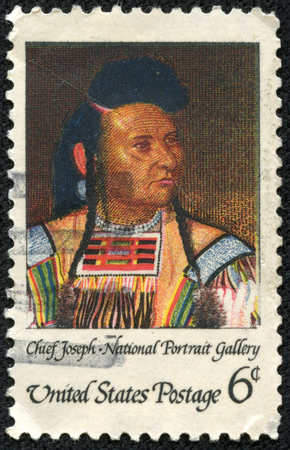USA - CIRCA 1980  A stamp shows portrait Chief Joseph was the chief of the Wal-lam-wat-kain band of Nez Perce during General Oliver O  Howard s attempt to forcibly remove his band, circa 1980