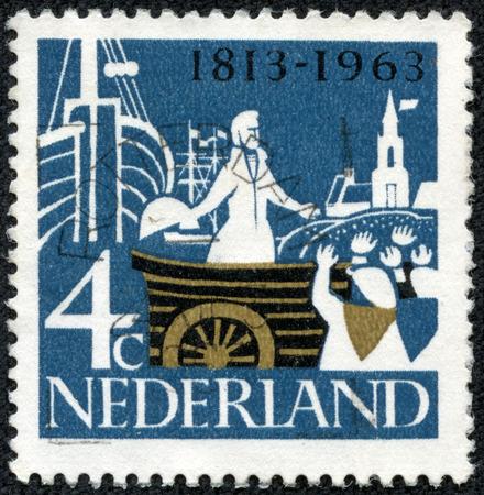 nederlan: NETHERLANDS - CIRCA 1963  A stamp printed in Netherlands shows Prince William of Orange Landing at Scheveningen, circa 1963 Editorial