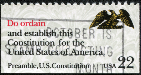 usps: USA - CIRCA 1980  A stamp printed in United States of America shows image of the dedicated to the US Constitution circa 1980