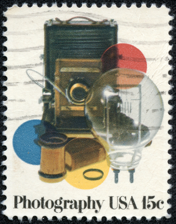 USA - CIRCA 1978  A stamp printed in United States of America shows vinatge photocamera and acsessores, circa 1978