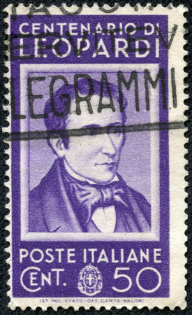 essayist: ITALY - CIRCA 1937  a stamp printed in the Italy shows Count Giacomo Leopardi, poet, circa 1937