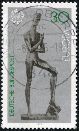 GERMANY - CIRCA 1974  A stamp printed in the Germany shows Young Man, Sculpture by Lehmbruck, circa 1974