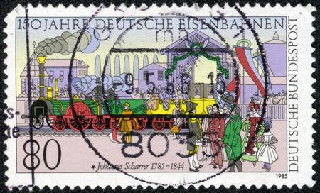 FEDERAL REPUBLIC OF GERMANY - CIRCA 1985  A stamp printed in the Federal Republic of Germany shows Johannes Scharrer  1785-1844 , 150 years of German railway, circa 1985