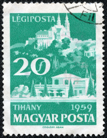 magyar: HUNGARY - CIRCA 1959  A stamp printed in Hungary shows image of the Hungarian village of Tihany, series, circa 1959