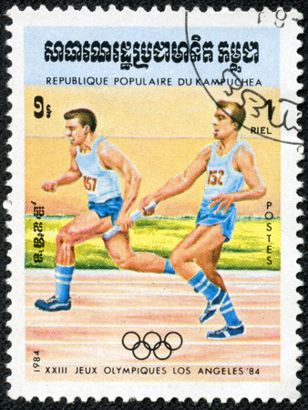 KAMPUCHEA - CIRCA 1984  A stamp printed in Kampuchea from the  Olympic Games, Los Angeles  2nd issue shows relay race, circa 1984