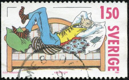 philately: A stamp printed in the Sweden shows Farmer Kronblom Stock Photo