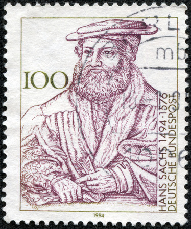sixteenth: GERMANY - CIRCA 1994  A stamp printed in the Germany shows the portrait of Hans Sachs, German poet of the sixteenth century , circa 1994 Editorial