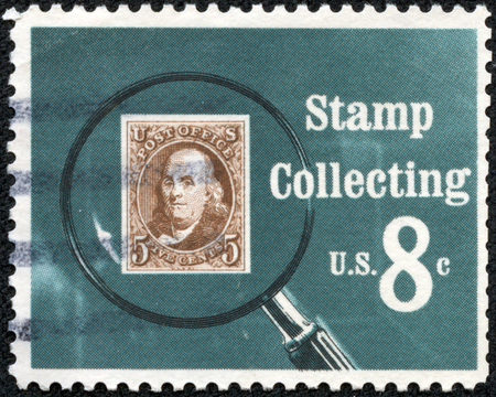 UNITED STATES OF AMERICA - CIRCA 1972  A stamp printed in USA shows Pictures magnifying glass over United States postage stamp, circa 1972