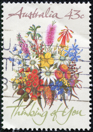 thinking of you: AUSTRALIA - CIRCA 1990  A Stamp printed in AUSTRALIA shows the Bunch of flowers with the description  Thinking of You , Special Occasions, circa 1990
