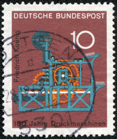 bundes: GERMANY - CIRCA 1968  A stamp printed in Germany from the  Scientific anniversaries  3rd series   issue shows Koenig s Printing Machine  150th anniversary , circa 1968