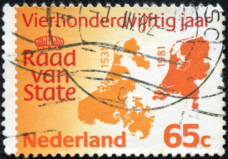 NETHERLANDS - CIRCA 1981  A stamp printed in Netherlands honoring 450th Anniv of Council of State, shows Council of State Emblem and Maps of 1531 and 1981, circa 1981